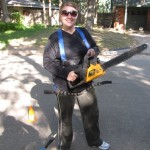 Karen with Chainsaw
