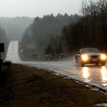 Car driving in the Rain