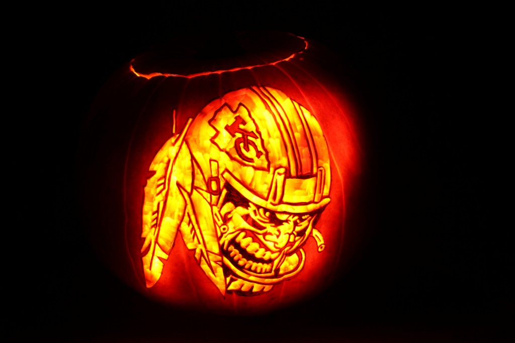 Kansas City Chiefs Jack O Lantern 1024x682 Pumpkin Carving: Kansas City Chiefs Pumpkin